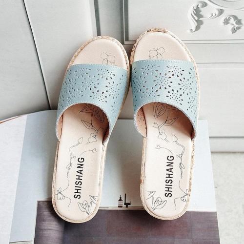 Hollow Pu Leather Platform Sandals