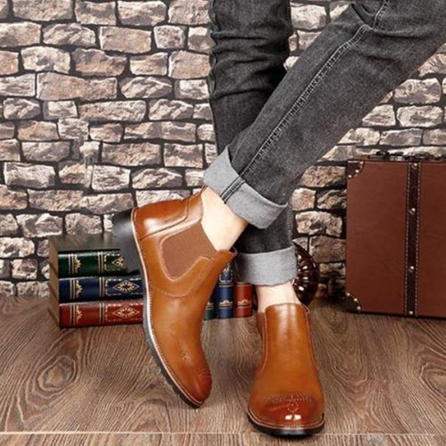 Casual Bullock carve patterns   Martin Men Boots Chelsea Boot
