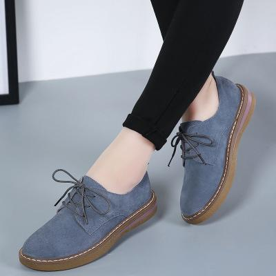 Women Lace Up Faux Suede Pure Color Casual Flat Non-slip Shoes
