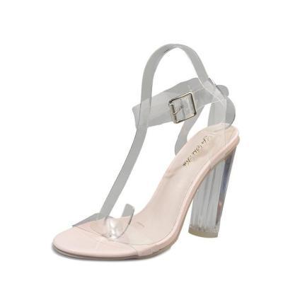 Open Toed High Heels Women Platform Transparent Heel Sandals Slippers