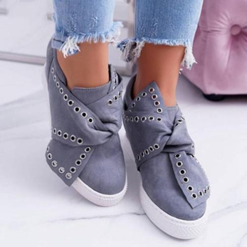 Faux Suede Wedge Heel Casual Sneakers