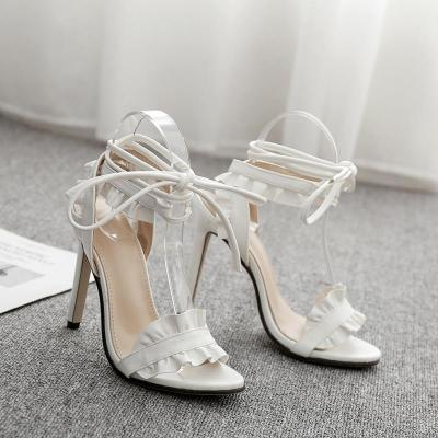 White High Heels European and American Women's Shoes Lotus Leaf Lace Sandals