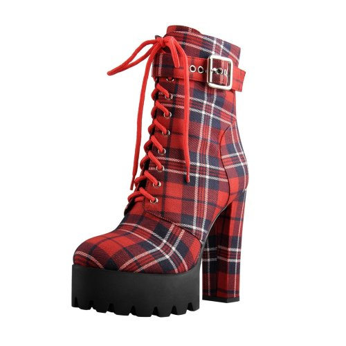 Plaid Lace Up Platform Buckle Strap Chunky Heel Round Toe Booties