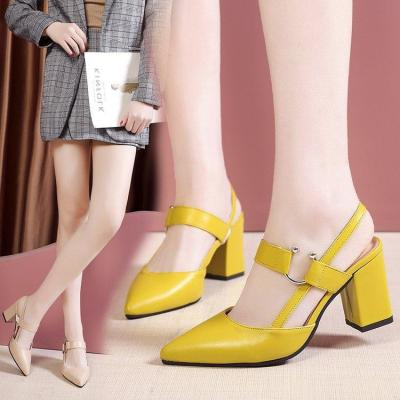 Spring Summer 2020 New Fashion Women's Shoes One Word Buckle Strap Metal Head High Heel Chunky Heel Back Sandals