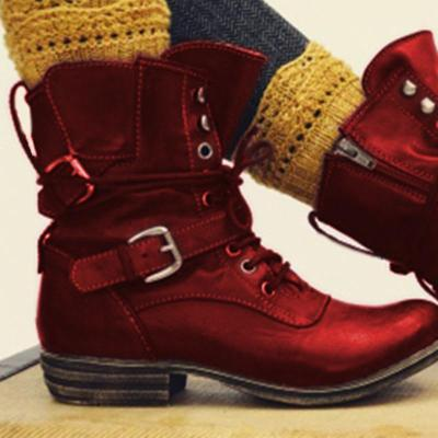Buckle Strap Artificial Leather Low Heel Mid-Calf Casual Boots
