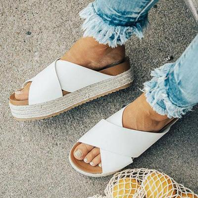 Casual Cross Belt Platform Slippers