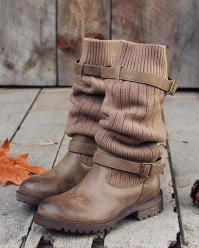 Vintage Belted Knitted Sock Boots