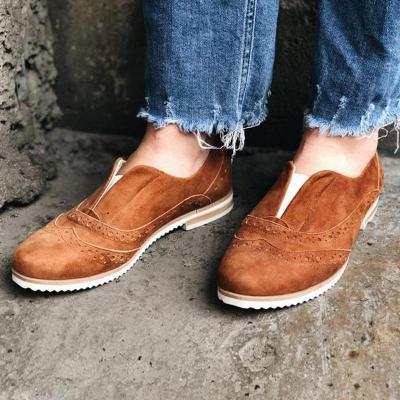 Artificial Suede Rubber Band Slip-On Flats