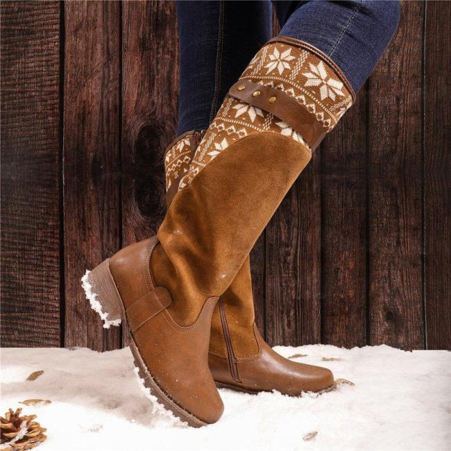 Women Vintage Warm Boots Zipper Knitted Fabric Shoes