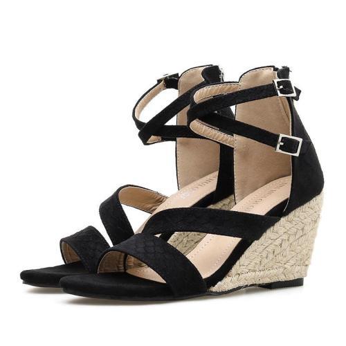 Fashion Flocking Buckle Straw-weave High Wedges Heel Sandals