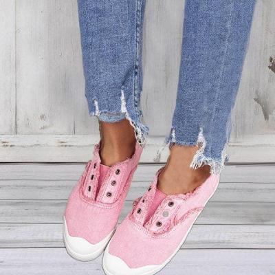 Women Retro Slip on Casual Canvas Burr Non-slip Shoes Without Laces