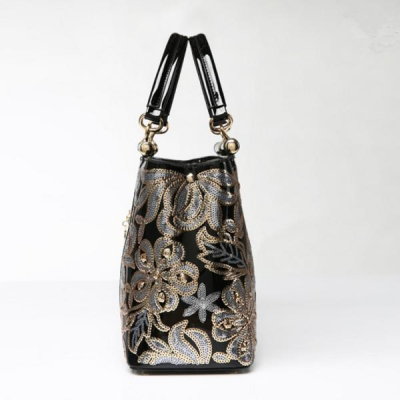 Patent Leather Europe Embroidery Sequined Chains Handbag