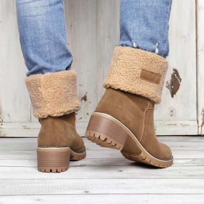 Women Large Size Snow Boot Warm Chunky Heel Boots