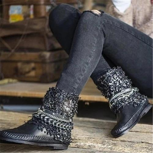 Women's Retro Stitching Chain Flat Boots