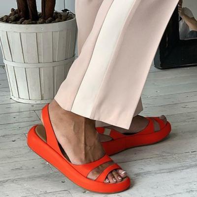 Plain Peep Toe Strap Band Mules Sandals
