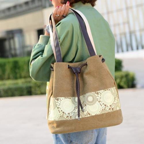 Fashion Women Handbags Floral Canvas Drawstring Bucket Bags
