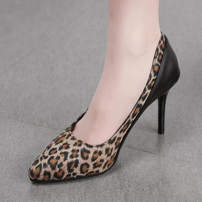 Leopard Daily Summer Stiletto Heel Pu Heels