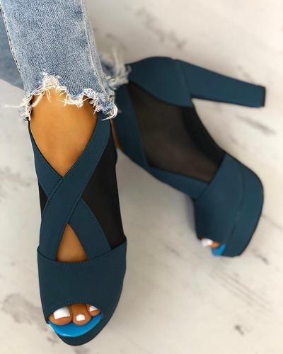 Mesh Insert Platform Chunky Heeled Sandals