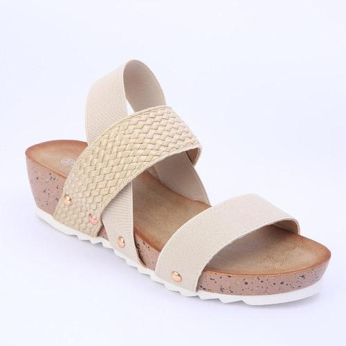 Comfortable Elastic Band Opened Toe Wedges Sandals