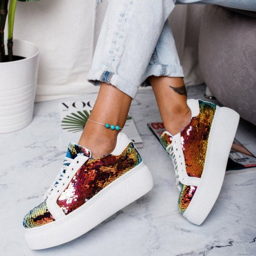 Women Fashion Platform Glitter Shinny Bling Sneakers Shoes