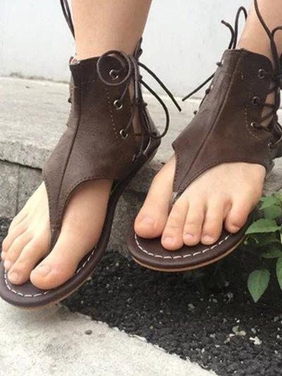 Lace-Up PU Flip-Flops Sandals With Zipper Woman Shoes