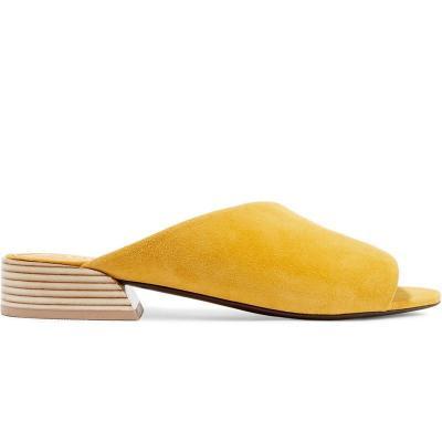 Artificial Suede Peep Toe Slip-On Mule Medium Chunky Sandals