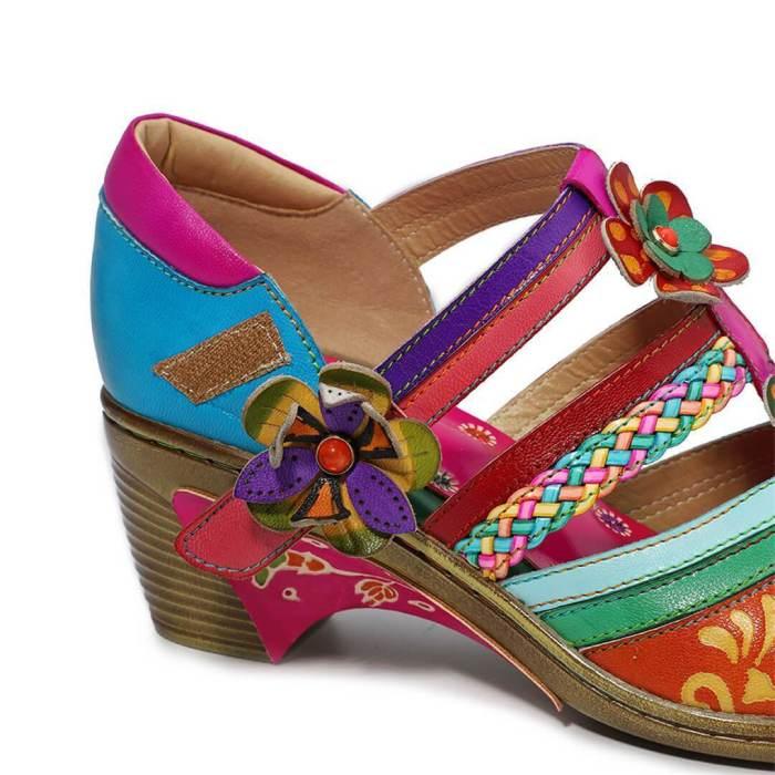 Retro Contrast   Stripe Velcro Handmade High Heels