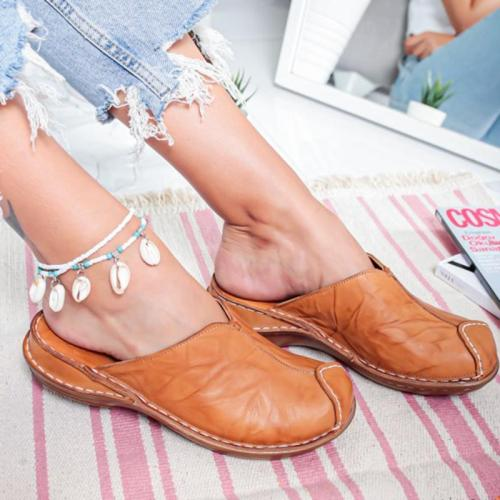 Summer Beach Sandals Wedges Vintage Shoes Woman Low Heels Sandalias Slippers Slides