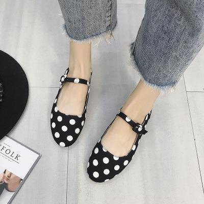 Polka Dot Buckle Round Toe Flat Heel Mary Jane Shoes