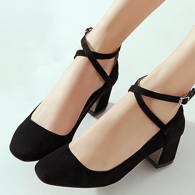 Square Toe Adjustable Buckle Sweet Suede Heels