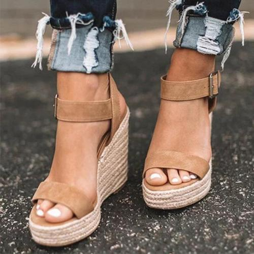 Women's PU Peep Toe Adjustable Buckle High Wedge Heel Sandals