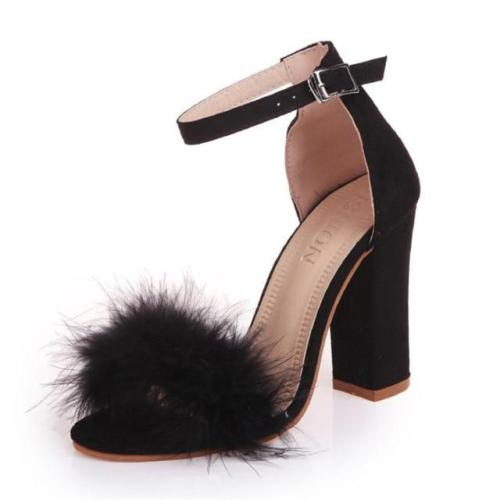 Pumps T-stage Fur Buckle Strap Platform Open Toe Dancing High Heel Wedding