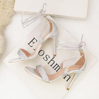 Summer Fashion High Heel Cross Strap Sexy Nightclub Rhinestone Sandals Women's Shoes