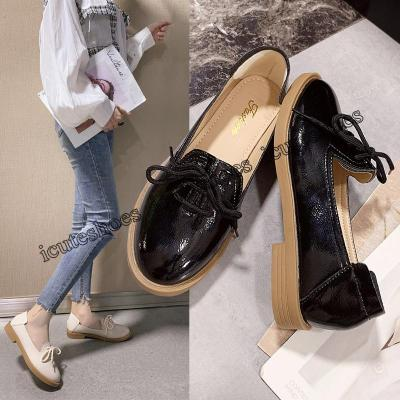 Spring Classic Women Derbies British Patent Leather Round Toe Oxfords Flats Casual Ladies Lace-up Shoes