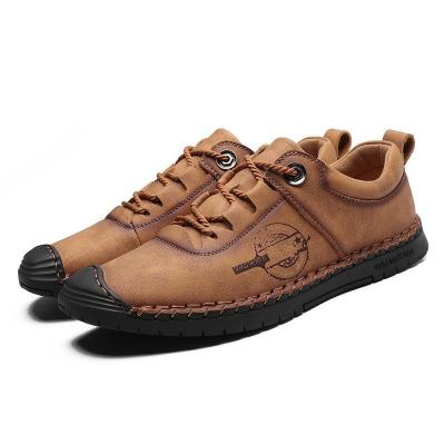 Large Size Mens Hand Stitching Anti-collision Non-slip Casual Flat Shoes