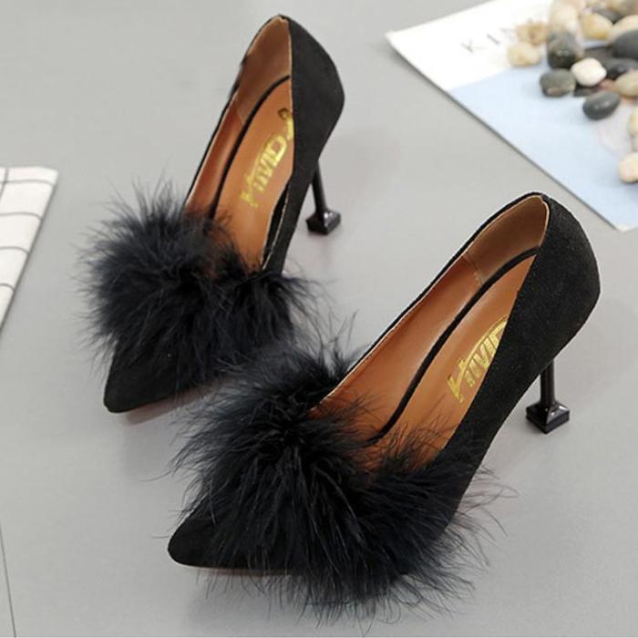Pointed Toe Suede Slim Heel Shoes