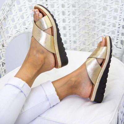 Women's Cross-band PU Round Toe Slip-On Middle Wedge Heel Slippers