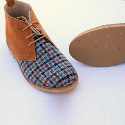 Women Gingham Toe Lace-Up Ankle Boots