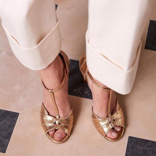Elegant Peep-Toe High Heels Stilettos T-Bar Sandals