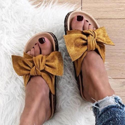 Low Flat Heels Bowknot Flocking Slip-Ons Sandals