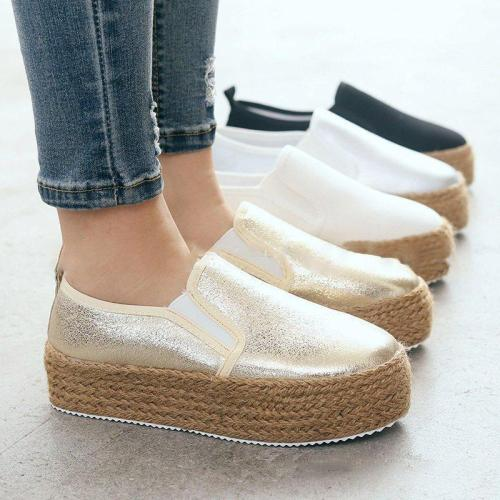 Espadrilled Slip On All Season Platform Loafers