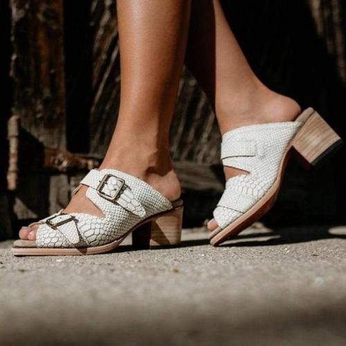 Flip Flop Chunky Heel Pattern Slip-On Casual Summer Slippers