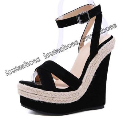 Fashion Women Summer Sandals Shoes Buckle Strap Leisure Platform Wedges Sandals Wedges High heels