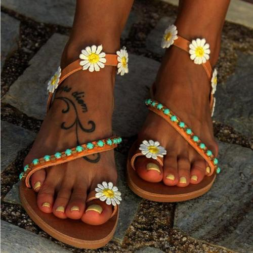 Sweet Flower Beading Flip-flops Flat Plus Size Sandals