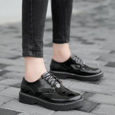 2020 New England Fringe Lace Retro Women's Shoes Round Head Flat Bottom Leather Shoes Women