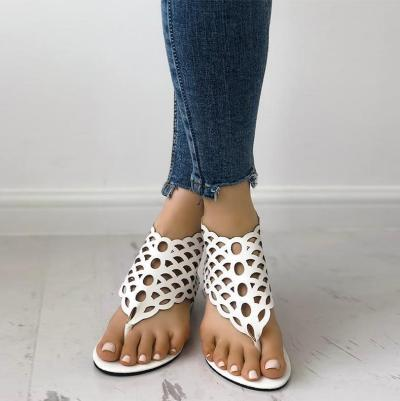 Sexy Pure Color Fish Scales Hollow Clip Toe Sandals
