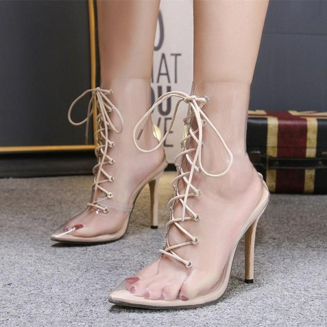 Transparent Cross Strap Sexy High Heel Pumps