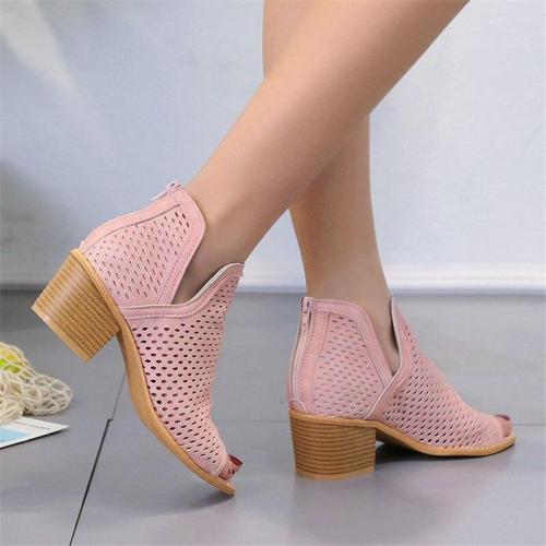 Chunky Heels Sandals Hollow Out Open Toe Shoes