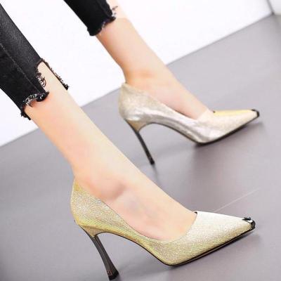 Women Sexy Pointed Toe Sequin Pumps Stilettos