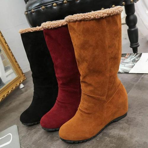 Wedge Heel Mid Calf Boots